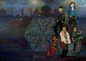 characters in front of gemetric shapes against a backdrop of an arabic city