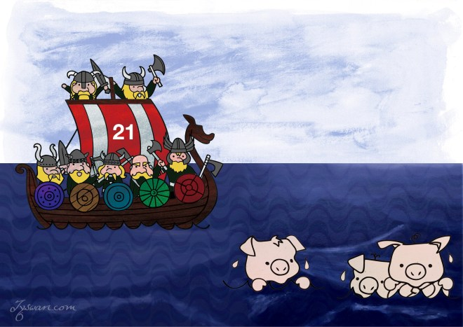 Viking longship overtaken by vikings, and the three pigs in the ocean