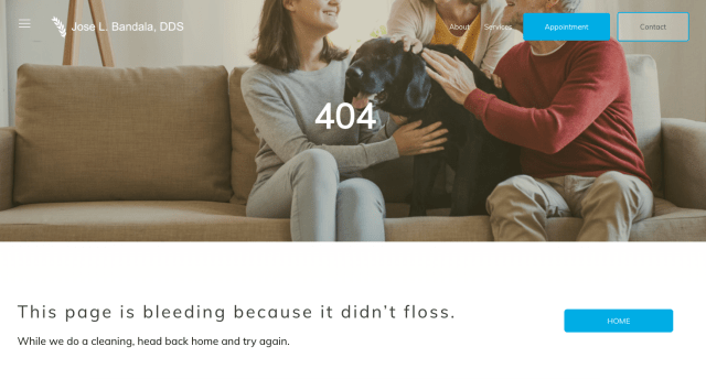 The 404 page for Bandala DDS, one of our 10 best 404 pages.