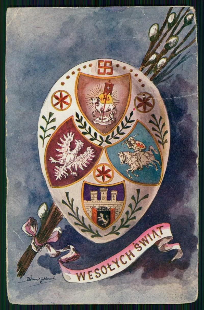 Kolorowa kartka pocztowa z jajkiem wielkanocnym, na którym widnieją herby Polski, Litwy i Lwowa. U góry w tarczy herbowej baranek symbolizujący Chrystusa Zmartwychwstałego. Nad nim widoczna niewielka czerwona swastyka