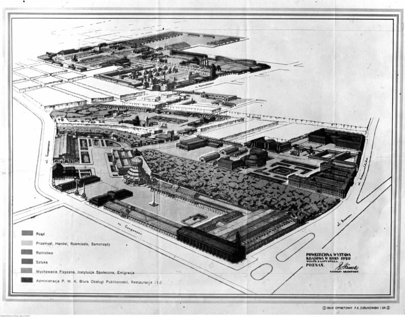 Plan terenów targowych w rzucie izometrycznym z zaznaczeniem obszarów poświęconych różnej tematyce (rząd, przemysł, rolnictwo, sztuka itd.)