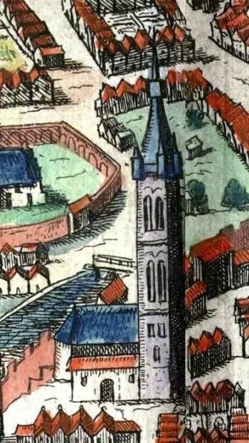Zbliżenie na kolegiatę na sztychu z dzieła Brauna i Hogenberga.