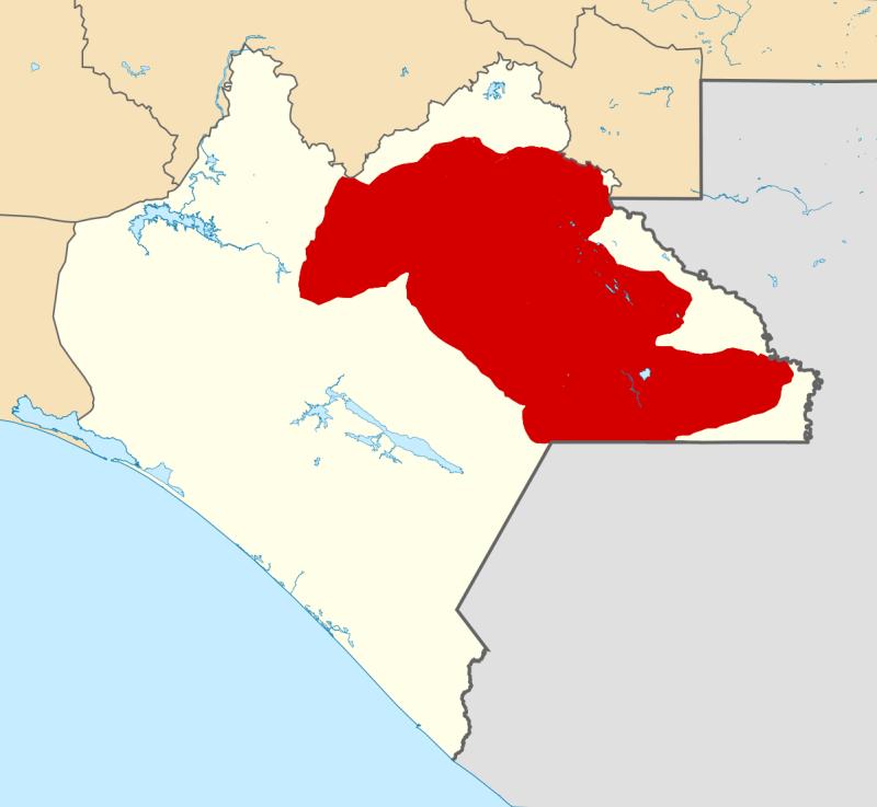 Mapa konturowa przedstawiająca stan Chiapas. Na czerwono zaznaczono obszary, które kontrolują zapatyści.