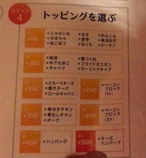 札幌スープカリー 東京ドミニカ新宿店 トッピング
