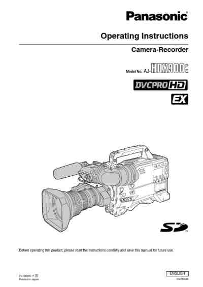 PANASONIC AJ-HDX900 Video Camera download manual for free