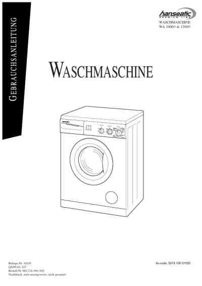 HANSEATIC WA 1000-5 Washing machine download manual for