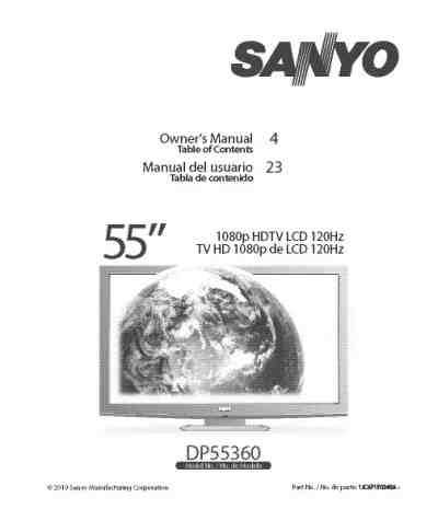 SANYO DP55360 TV/ Television download manual for free now