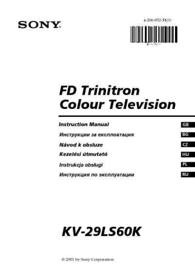 SONY KV 29LS60K TV/ Television download manual for free