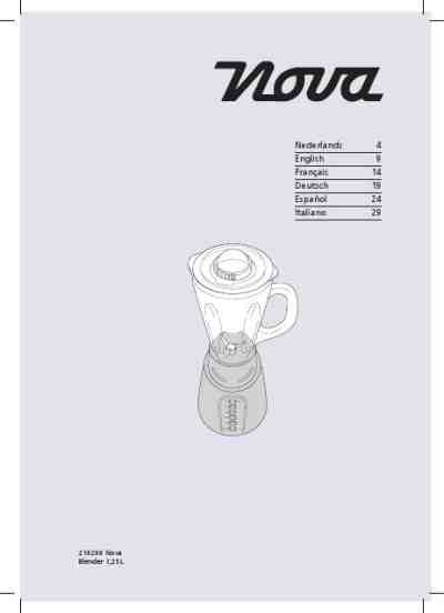 NOVA 210200 NOVA BLENDER Mixer download manual for free