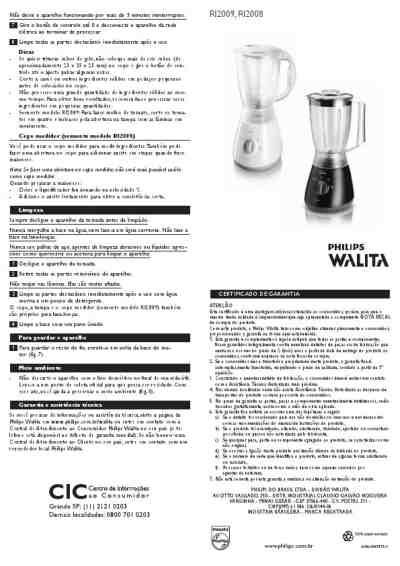 PHILIPS RI2009 400 W 2 LITER BLENDER Mixer download manual