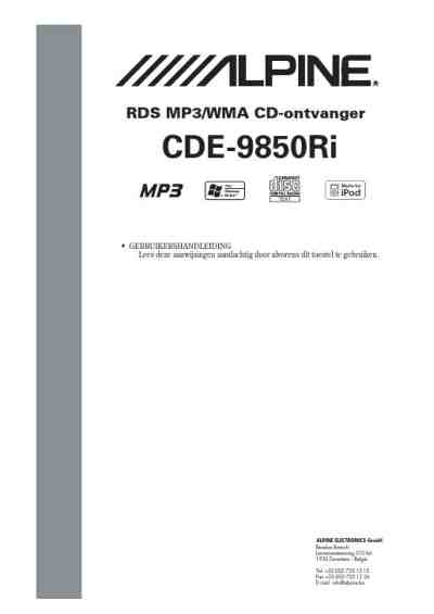 ALPINE CDE 9850 RI Car radio download manual for free now