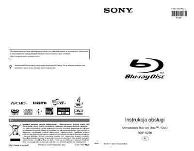 SONY BDP-S280 DVD/ Blu-ray player download manual for free
