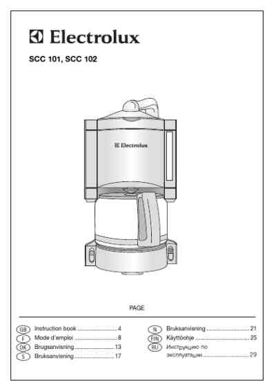 ELECTROLUX SCC101 Coffee maker download manual for free