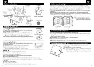 TANITA BC-351 Personal Weighing Scale download manual for