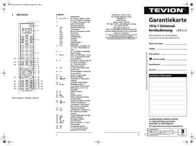 TEVION UFB 214 Remote commander/ Remote control download