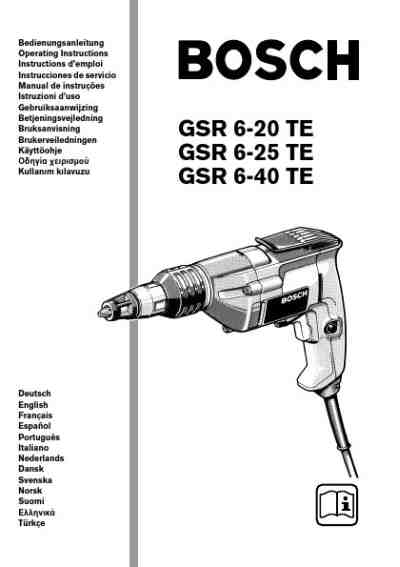 BOSCH GSR 6-40TE Tools download manual for free now