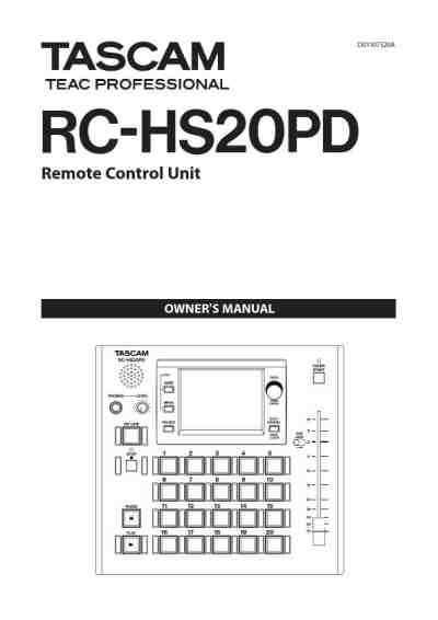 TASCAM RC-HS20PD Remote commander/ Remote control download