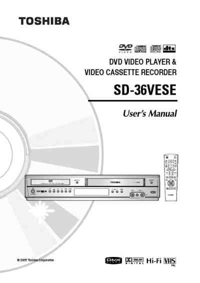 TOSHIBA SD36VESE DVD/ Blu-ray player download manual for