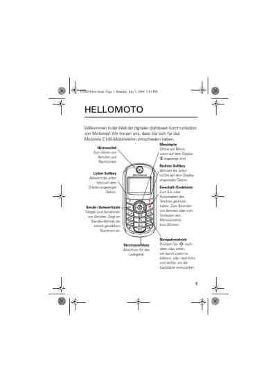 MOTOROLA C140 Mobile phone download manual for free now