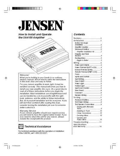 JENSEN XA 4100 Car radio download manual for free now