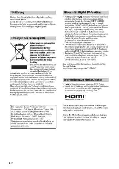 SONY BRAVIA KDL-46D3500 TV/ Television download manual for