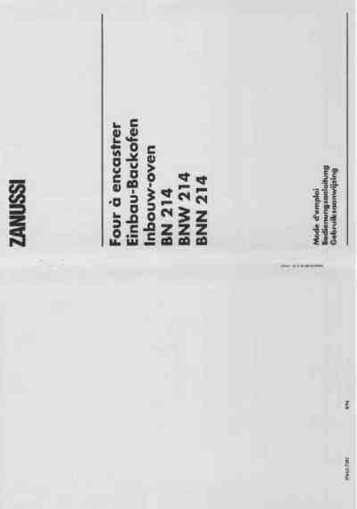 ZANUSSI BN 214 BNN BNW Oven download manual for free now