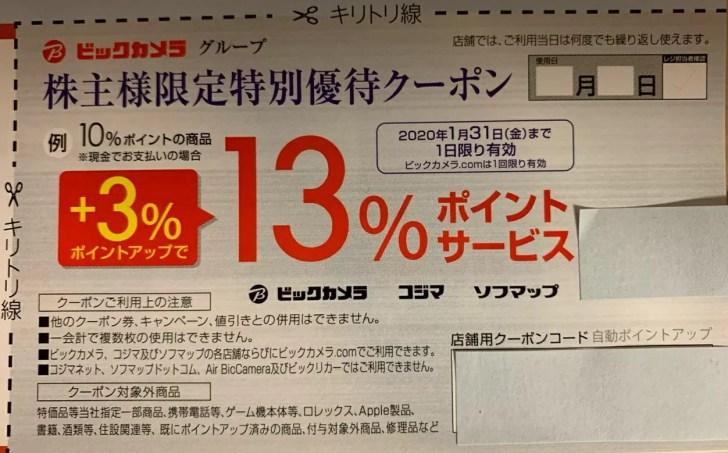 株主限定特別優待クーポン