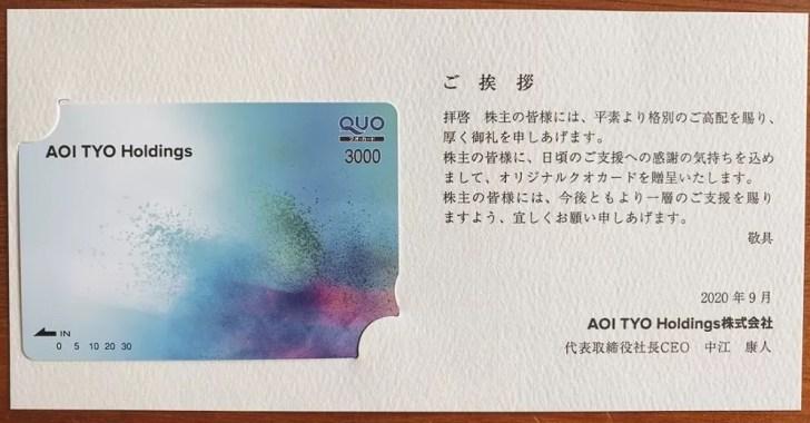 AOI TYO Holdingsの株主優待(500株)