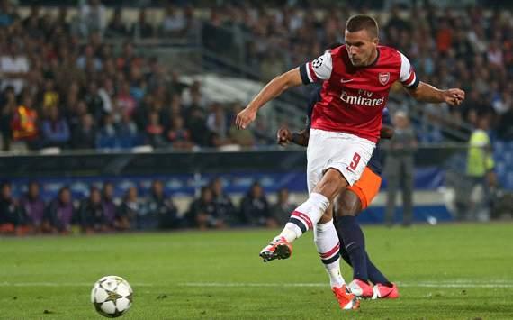 Lukas Podolski, Montpellier Herault SC v Arsenal FC - UEFA Champions