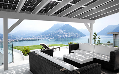 Solar terrace roof  shading electricity generation and weather protection  Solarcarportede