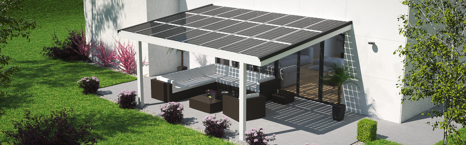 Solar Terrace Roof Shading Electricity Generation And Weather