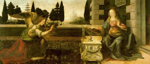 Anunciación. Leonardo da Vinci.1475 Uffici (Florencia)