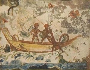 Jonás y la ballena.  Catacumbas de Priscila.