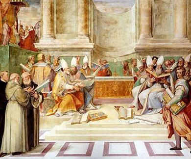 Fresco del Concilio de Trento. Villa Farnesio