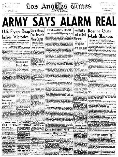 """""""El Ejército dice que la Alarma fue Real"""" —Los Angeles Times."""