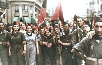 Anarko-syndikalistiske militsfolk i Barcelona