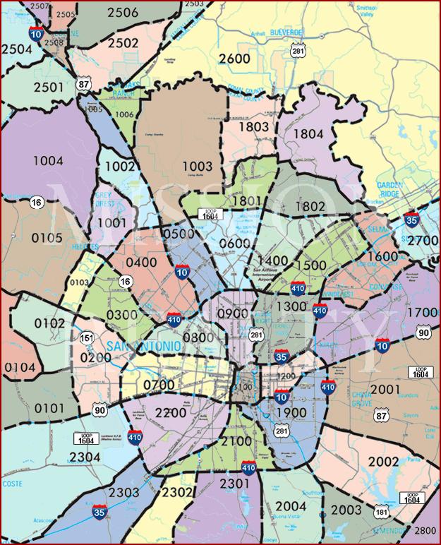 Map Of San Antonio Zip Codes : antonio, codes, Antonio, Codes, World, Atlas