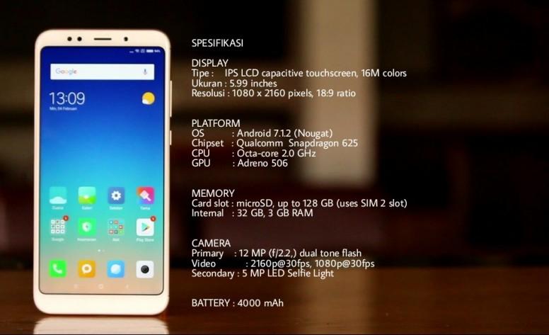Hasil gambar untuk Xiaomi Redmi 5 Plus (3/32) - Gold - Snapdragon 625