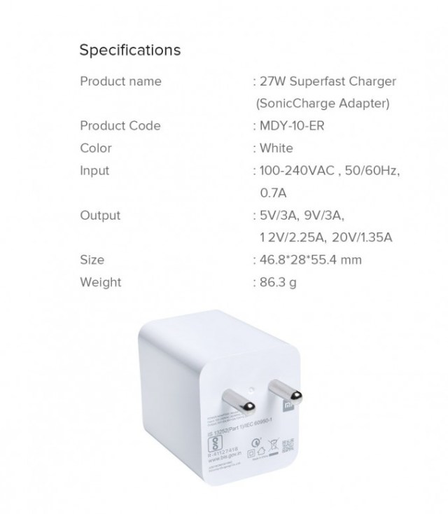 Xiaomi Mi 27W Sonic Charger (Super fast Charger)