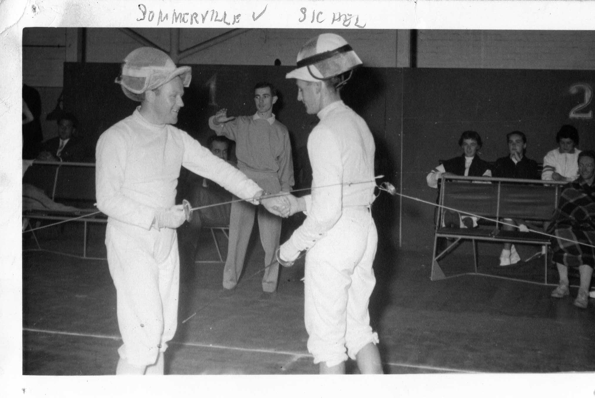 L-R: Sommerville vs. Sichel.  Tom Cross (President)