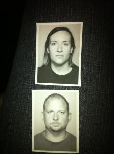 Our passport photos that actually look like mugshot photos.  Not sure why they don't let you smile :D