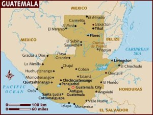We live near Guatemala City.  You can see Chichicastenango and Huehuetenango to the northwest.  Our final destination, Jacaltenango, is north of Huehuetenango.