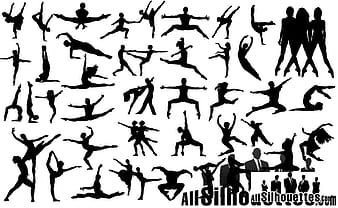 Black Party Background with dancing silhouettes eps vector