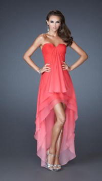 Watermelon Layered Short Front Long Back Dress ...