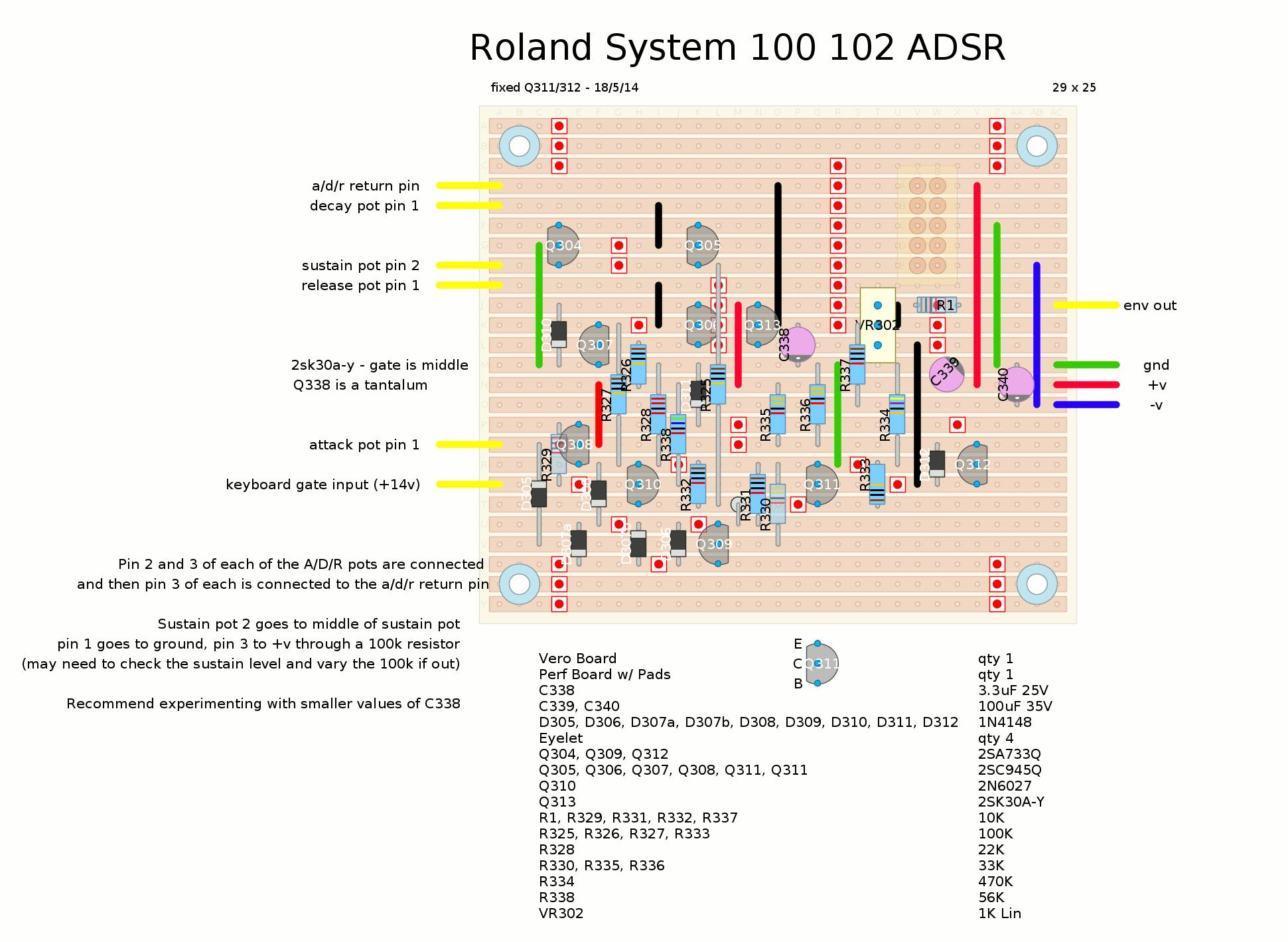 hight resolution of roland system 100 adsr envelope stripboard layout