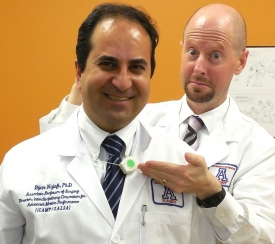 Dr. Armstrong works closely with biomedical engineer Dr. Bijan Najafi, who heads iCAMP. Dr. Najafi is shown here wearing a sensor that is part of an array of tools in the iCAMP lab that constitute one of the most advanced collection of motion recording and analysis tools in the world. This particular device can be worn around the neck to identify virtually any position the wearer is in and help to predict and prevent falls in older adults.