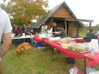 Another shot of the food line. As you can see, everyone brought something.