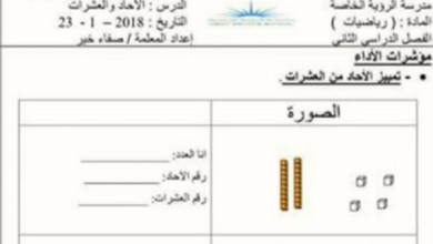 Photo of اوراق عمل واختبارات رياضيات الصف الاول الفصل الثاني