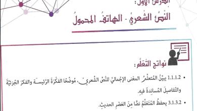 Photo of لغة عربيه حل اسئلة النص الشعري الهاتف المحمول