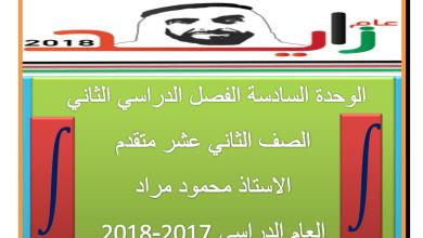 Photo of رياضيات الوحدة السادسة للصف الثاني عشر متقدم الفصل الثاني 2017-2018